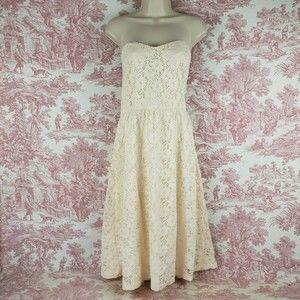 Asos Strapless Dress 14 Ivory Eyelet